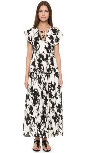 Платье с цветочным рисунком со шнуровкой Thakoon. Цвет: черный/белый