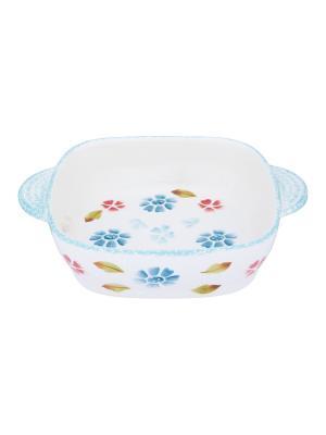 Блюдо для запекания и сервировки стола Васильковое настроение Elan Gallery. Цвет: белый, голубой