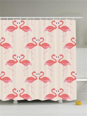 Фотоштора для ванной Бабочки на розовых цветах, карпы, раки и воробьи чёрном бамбуке, розовые фл Magic Lady. Цвет: бежевый, бледно-розовый, красный, розовый