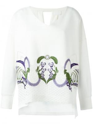 Джемпер с цветочной вышивкой Mame. Цвет: белый