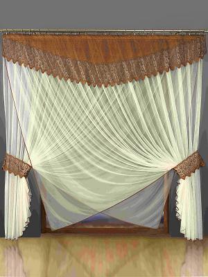 Комплект штор Wisan. Цвет: коричневый, молочный