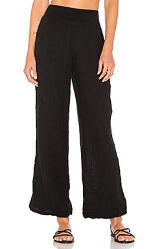 Жатые широкие брюки Michael Stars. Цвет: черный