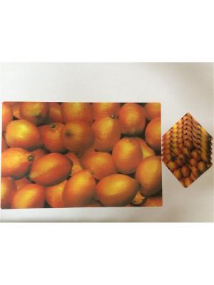 Набор плейсматов 3D,28x42см-6шт, 10x10см-6шт Dream time. Цвет: оранжевый, желтый