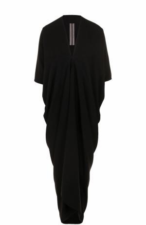 Платье свободного кроя с V-образным вырезом Rick Owens. Цвет: черный