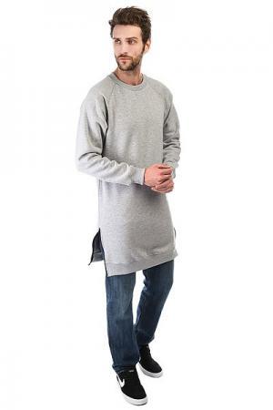 Толстовка классическая  Long Sweatshirt Серая Skills. Цвет: серый
