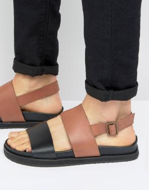 ASOS Кожаные сандалии на танкетке (коричневый/черный). Цвет: рыжий