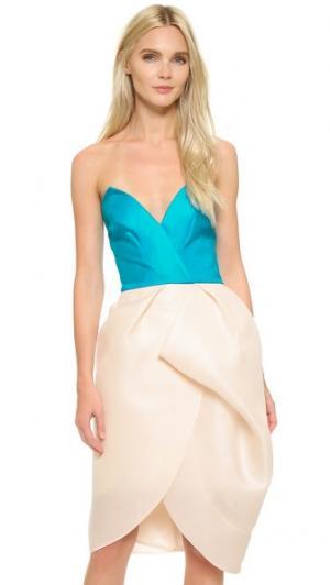 Платье-тюльпан без бретелек Monique Lhuillier. Цвет: голубой/розовый