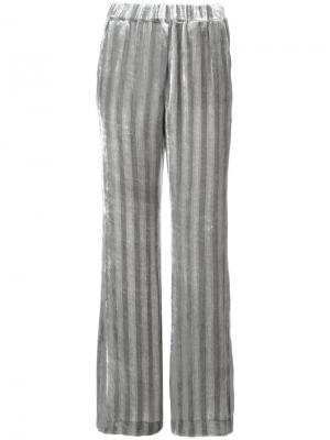 Бархатные брюки в полоску Dorothee Schumacher. Цвет: серый