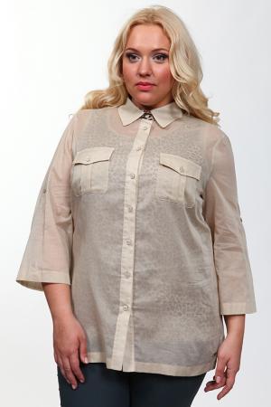 Двойка: топ и рубашка PER TE BY KRIZIA. Цвет: бежевый, леопард