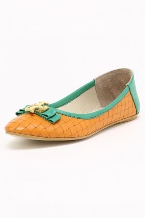 Балетки Etor. Цвет: зеленый, оранжевый