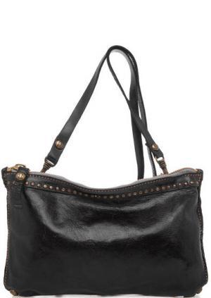 Черная кожаная сумка через плечо Campomaggi. Цвет: черный