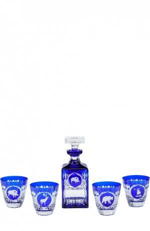 Набор из штофа и 4-х стаканов для виски Hunt Tsar. Цвет: бесцветный