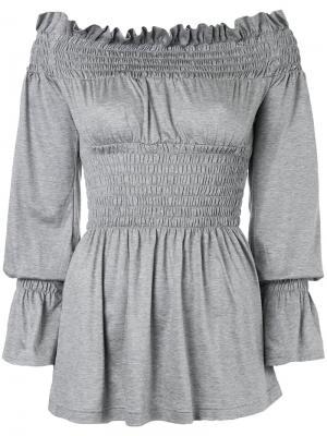 Блузка с открытыми плечами G.V.G.V.. Цвет: серый