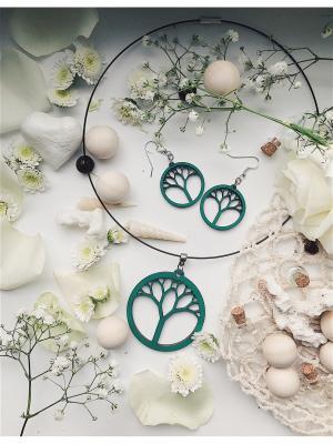 Комплект Дерево Жизни Колье на жесткой леске  и малые серьги ФРЕЙЯ. Цвет: зеленый