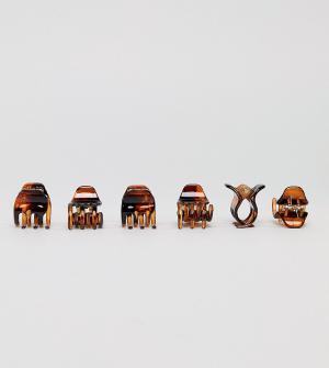 ASOS Набор из 6 средних зажимов для волос DESIGN. Цвет: коричневый