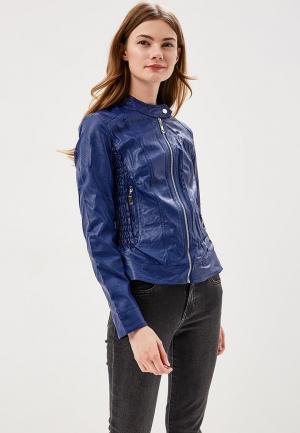 Куртка кожаная Fronthi. Цвет: синий