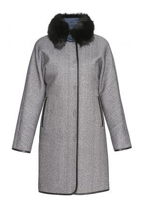 Пальто из шерсти с утепленным жилетом и мехом 178627 Pompa. Цвет: серый
