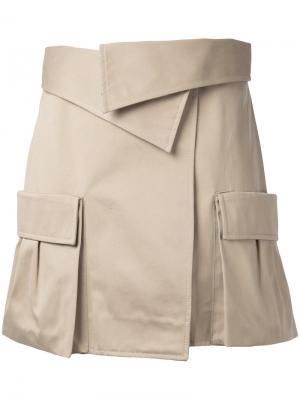 Юбка с накладными карманами Monse. Цвет: коричневый