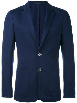 Блейзер с накладными карманами Corneliani. Цвет: синий