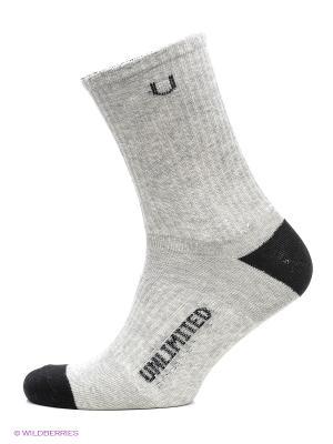 Носки спортивные 3 пары Unlimited. Цвет: серый меланж, черный