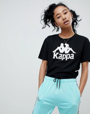 Kappa Свободная футболка с крупным логотипом. Цвет: черный