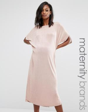Missguided Maternity Oversize-платье для беременных. Цвет: бежевый