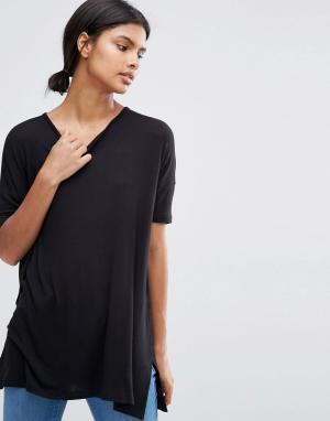 ASOS Свободная футболка с драпировкой. Цвет: черный
