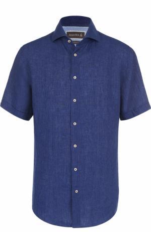 Льняная рубашка с короткими рукавами Jacques Britt. Цвет: темно-синий