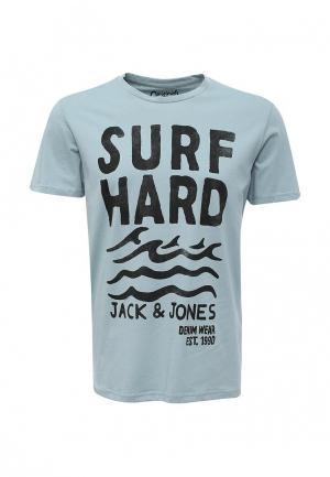 Футболка Jack & Jones. Цвет: голубой
