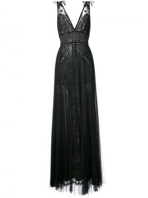 Вечернее платье с глубоким V-образным вырезом Marchesa Notte. Цвет: чёрный