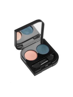 Тени компактные двухцветные DUETTO ELEGANTE SPF 7,  оттенок 08,закат,2 гр. L'arte del bello. Цвет: серо-голубой, светло-коралловый