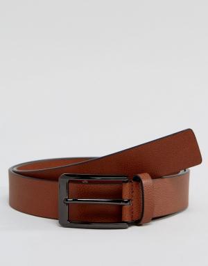 Smith And Canova Светло-коричневый кожаный ремень. Цвет: рыжий