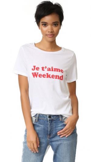 Футболка с надписью «Je Taime Weekend» South Parade. Цвет: белый