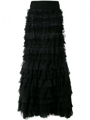 Длинное платье с открытыми плечами и оборками Giambattista Valli. Цвет: чёрный