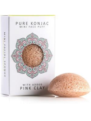 Воздушный Подарочный  Мини-спонж Конняку для лица Premium с розовой глиной The Konjac Sponge Company. Цвет: розовый