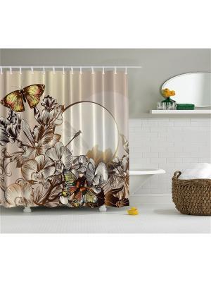 Фотоштора для ванной Бабочки и цветы на закате, 180*200 см Magic Lady. Цвет: бежевый, желтый, коричневый, красный