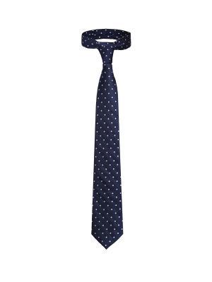 Классический галстук Казино Рояль со стильным принтом Signature A.P.. Цвет: синий, белый