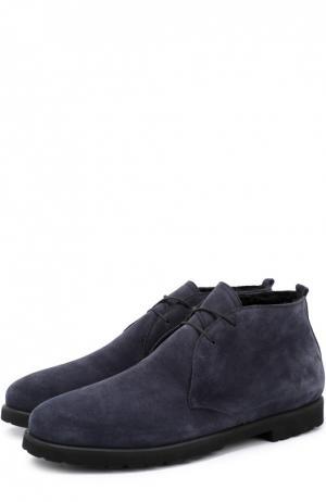 Замшевые ботинки с внутренней меховой отделкой Rocco P.. Цвет: темно-синий