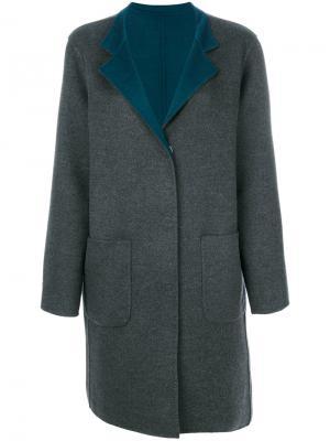Пальто с контрастными лацканами Manzoni 24. Цвет: серый