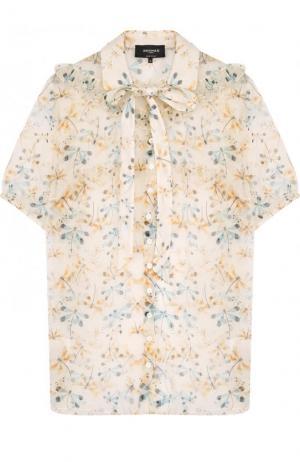 Полупрозрачная блуза с принтом и коротким рукавом Rochas. Цвет: бежевый