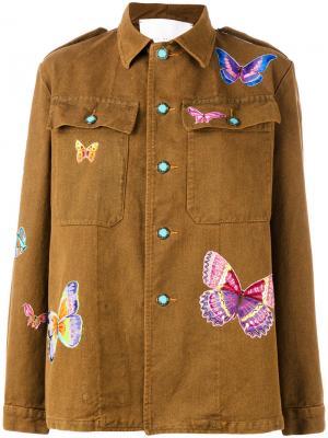 Куртка с заплатками в виде бабочек Giada Benincasa. Цвет: коричневый