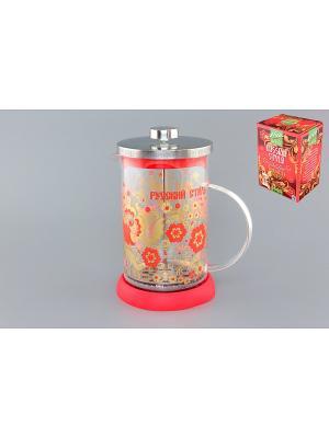 Чайник с поршнем Viva - DeLuxe Хохлома Elan Gallery. Цвет: красный, прозрачный