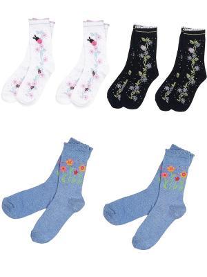 Носки детские, комплект 6 пар Malerba. Цвет: черный, серо-голубой, сиреневый
