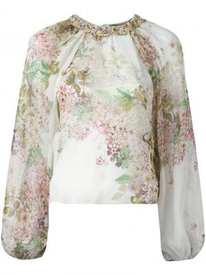 Блузка с цветочным принтом Giambattista Valli. Цвет: телесный