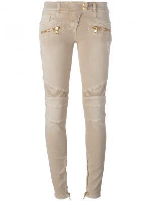 Байкерские джинсы скинни Balmain. Цвет: телесный