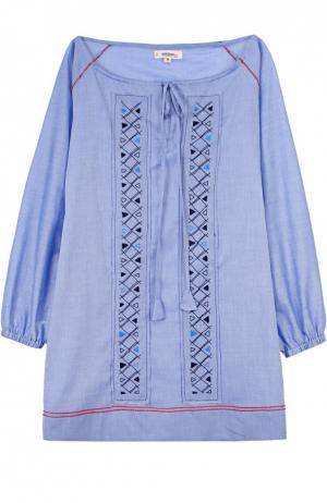 Хлопковое мини-платье с вырезом-лодочка LemLem. Цвет: голубой