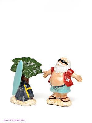 Набор соль-перец Санта на отдыхе Pavone. Цвет: зеленый, красный