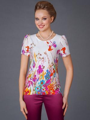 Блузка Арт-Деко. Цвет: розовый, белый