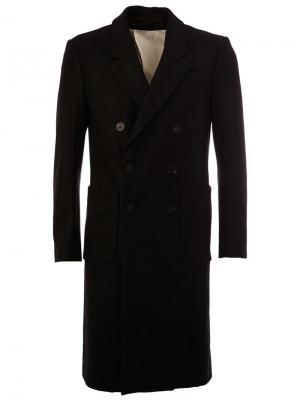 Двубортное пальто средней длины 08Sircus. Цвет: чёрный