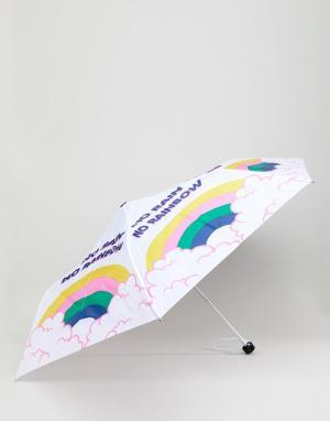 Monki Зонт с принтом радуги и туч. Цвет: белый
